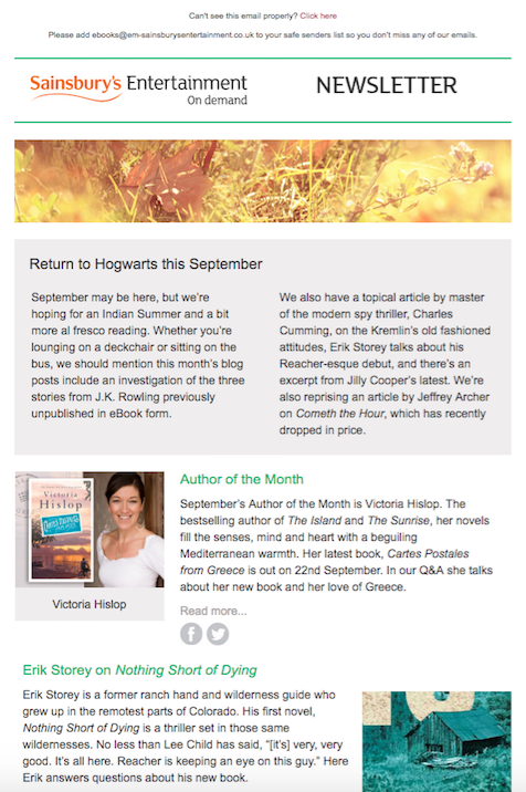 Partial screenshot of SEoD Blog Newsletter for September