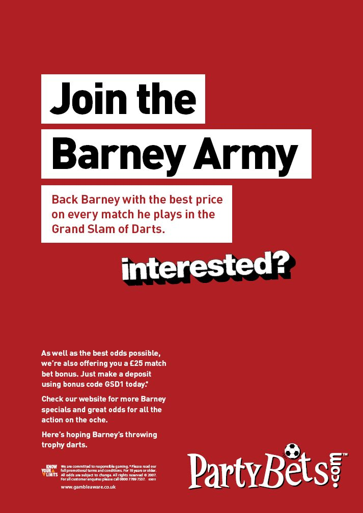 PartyBets press ad - Join the Barney Army